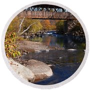 Packard Hill Bridge Lebanon New Hampshire Round Beach Towel by Edward Fielding
