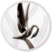 Packard Swan Hood Ornament 1 Round Beach Towel