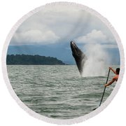 Paddle Boarders And Humpback Whale Round Beach Towel
