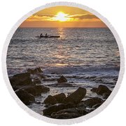 Paddlers At Sunset Portrait Round Beach Towel