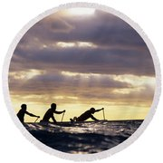Paddlers Silhouetted Round Beach Towel
