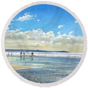 Paddling At The Edge Round Beach Towel