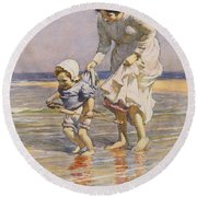Paddling Round Beach Towel by William Kay Blacklock