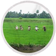 Paddy Field Workers Round Beach Towel