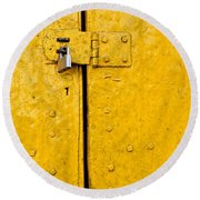 Padlock On An Old Yellow Door Round Beach Towel