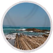 Pages Into The Sea No1 Round Beach Towel