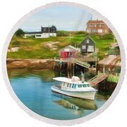 Peggy's Cove Boat Tours Round Beach Towel
