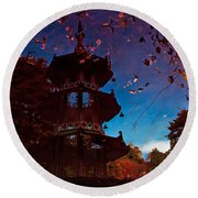 Pagoda Reflection Round Beach Towel