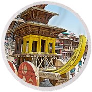 Pagoda-style Carriage In Bhaktapur Durbar Square In Bhaktapur-nepal Round Beach Towel