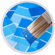Paint Brush - Blue Round Beach Towel