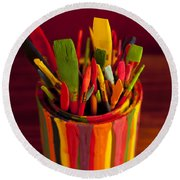 Paint Can And Paint Brushes Still Life Round Beach Towel
