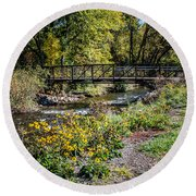 Paint Creek Bridge Round Beach Towel