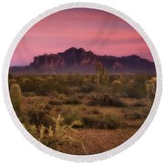 Paint It Pink Sunset  Round Beach Towel