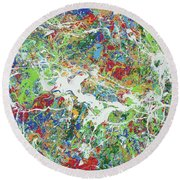 Paint Number Sixteen Round Beach Towel