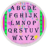 Paint Spattered Primary Learning Round Beach Towel
