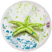 Paint Spattered Star Fish Round Beach Towel