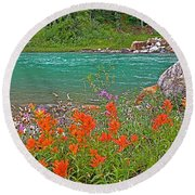 Paintbrush By Bow River In Banff Np-ab Round Beach Towel