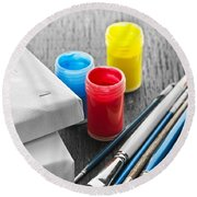 Paintbrushes With Canvas Round Beach Towel