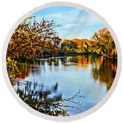Painted Autumn River Round Beach Towel