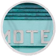 Painted Blue-green Historic Motel Facade Siding Round Beach Towel