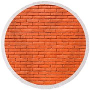 Painted Brick Wall Round Beach Towel