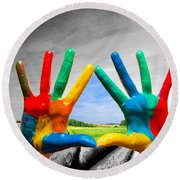 Painted Colorful Hands Showing Way To Colorful Happy Life Round Beach Towel