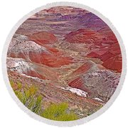 Painted Desert From Rim Trail In Petrified Forest National Park-arizona Round Beach Towel