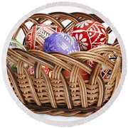 painted Easter Eggs in wicker basket Round Beach Towel