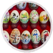 Painted Eggs In China Market Round Beach Towel