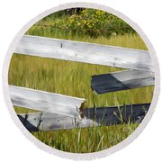 Painted Fence Round Beach Towel
