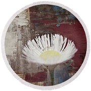 Painted Flower Round Beach Towel