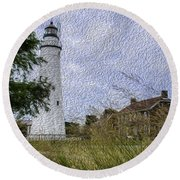 Painted Fort Gratiot Light House Round Beach Towel