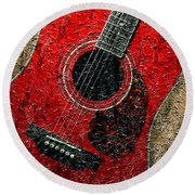 Painted Guitar - Music - Red Round Beach Towel
