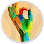 Painted Hand With Ok Sign Round Beach Towel