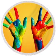 Painted Hands Round Beach Towel