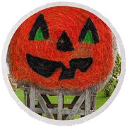 Painted Hay Bale Round Beach Towel