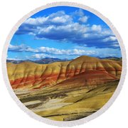 Painted Hills Blue Sky 3 Round Beach Towel