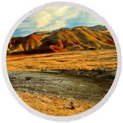 Painted Hills Sunset Round Beach Towel