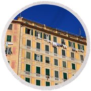 painted homes in Camogli Round Beach Towel