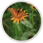 Painted Lady With Friends Round Beach Towel
