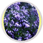 Painted Lilacs Round Beach Towel