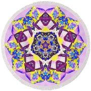 Painted Lotus Xvi Round Beach Towel