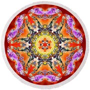 Painted Lotus Xvii Round Beach Towel
