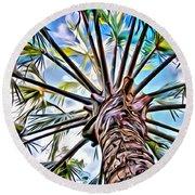 Painted Palms Round Beach Towel
