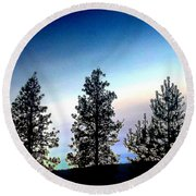 Painted Pine Tree Trio Round Beach Towel