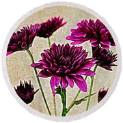 Painted Pink Bouquet Round Beach Towel