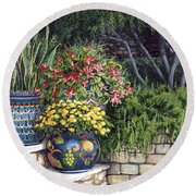 Painted Pots Round Beach Towel