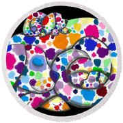 Painted Puppies Round Beach Towel