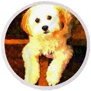Painted Puppy Round Beach Towel