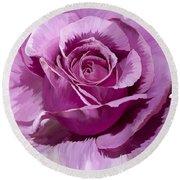 Painted Purple Rose  Round Beach Towel